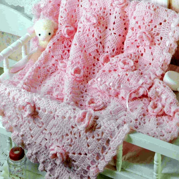 Vintage crochet pattern pink rose granny square afghan baby blanket vintage crochet pattern pink rose granny square afghan baby blanket cot blanket shawl from toyswereuspatterns on etsy studio dt1010fo