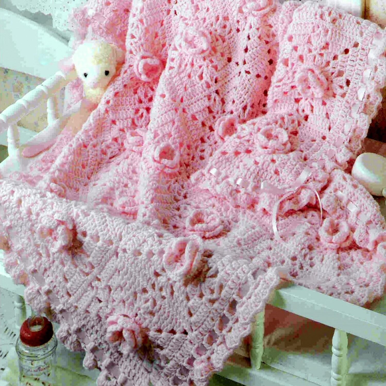 Vintage Crochet Pattern Pink Rose Granny Square Afghan Baby Blanket ...
