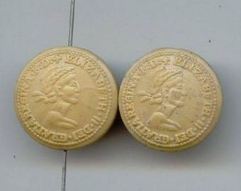 12 Vintage Elizabeth II Tan Coin Acrylic 23mm. Round Double Sided Beads 2707x