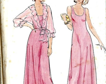 Sewing pattern Butterick 5696 Maxi Dress low scoop neck flared Jacket with dolman sleeves and ruffle Size 16 Vintage Stretch Knit uncut