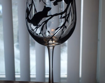 Hand painted squirrel wine glass