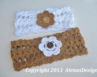 Crochet Pattern 078 Headband Small, Medium, Large sizes, Head Wrap Crocheted Flower Girls Ladies Women White Summer Spring
