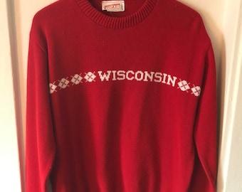 80s Vintage Wisconsin Badgers Sweater