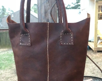 Handmade hand sewn leather double shoulder strap tote bag with inside pockets