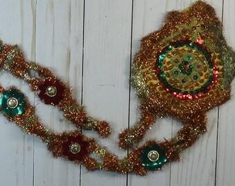 Victorian Christmas Decoration: Metallic Tinsel, Stitched Gilt Threads, Sequins, etc..