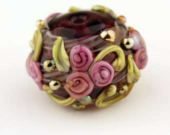 Hollow Lampwork Glass Bead with Pink Roses and Iridescent Dots  'Kissing Ball'