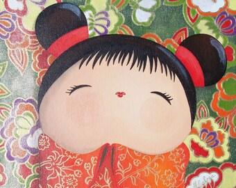 Acrylic painting on canvas Board: Sachiko (kokeshi)
