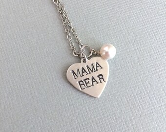 Mama Bear Necklace, Heart Necklace, Mother Necklace, Gift For Mom, Valentine Gift, Mother's Day, Mama Jewelry, AnesandEve
