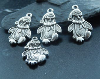 2 silver Penguin charms