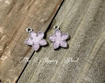 Star Pendants Silver Star Pendants Glitter Pendants Silver Star Charms Glitter Charms Sparkly Charms Purple Star Charms 2 pieces
