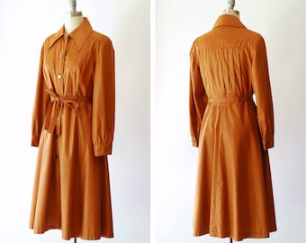 vintage 1970s jacket / 70s orange belted trench coat / size medium