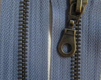 70 cm grey zipper closure detachable brass Prym