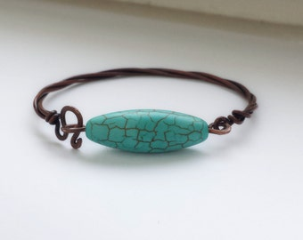 Copper bracelet with turquoise howlite, Artisan jewelry, Chic bracelet, Rustic copper bracelet