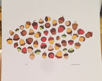 Acorns 8x10 Illustration Print