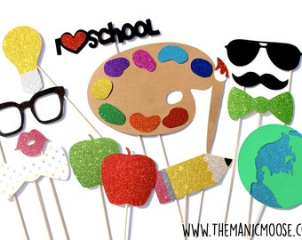 Back to School Photo Booth Props ~ Set of 14 Glitter Photo Booth Props