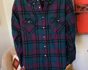 Vintage 70's/80's purple and teal flannel