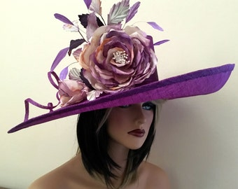 Kentucky Derby Hat. Formal hat. Purple hat for Del Mar races, Royal Ascot, Derby Couture hat for weddings, church and etc.