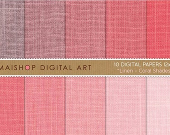 Digital Paper Linen 'Coral Shades' Linen Texture Backgrounds for Scrapbooking, Paper Crafts, Invitations, Collages, Graphic Design...