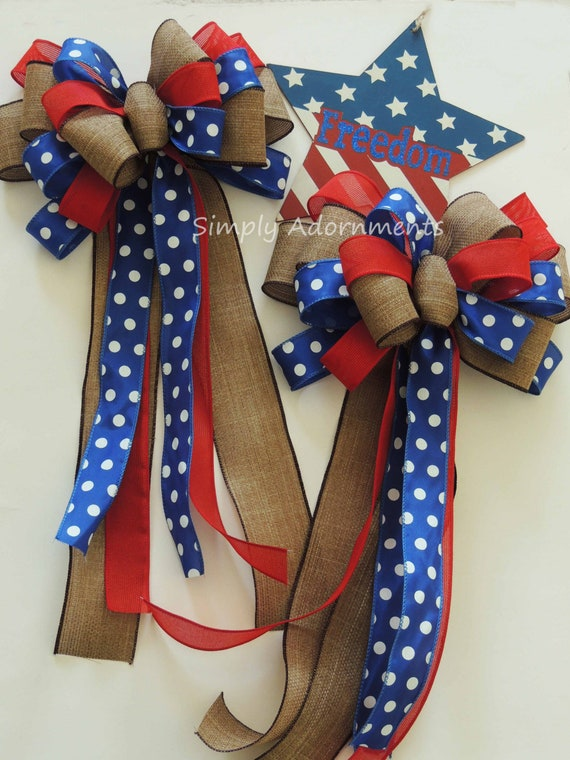 Patriotic Christmas Bow Rustic Red Blue Burlap Patriotic wreath bow Patriotic Wedding Pew Bow 4th of July Bow Independence Day Bow