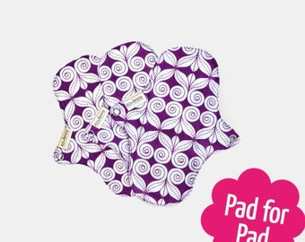 A pack of 3 reusable organic cotton pantyliners with PUL