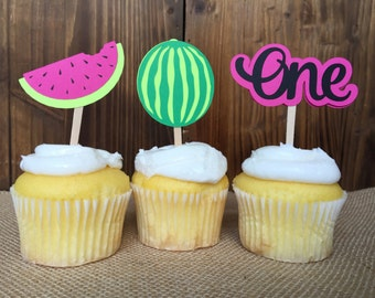 12 Summer Watermelon Tropical Birthday Cupcake Toppers - One in a melon Birthday Party - First Birthday