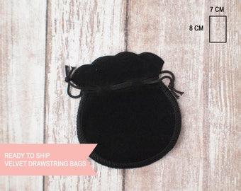 Black velvet round drawstring bag extra small  7cm x 8cm