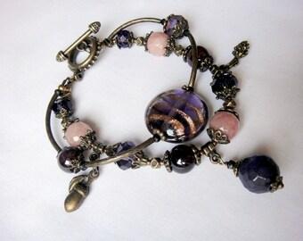 Purple lamp work glass and quartz bracelet for women