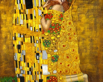 The Kiss by Gustav Klimt Home Decor Wall Decor Giclee Art Print Poster A4 A3 A2 Large FLAT RATE SHIPPING