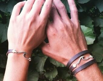 Bracelet Set, Boho Leather Bracelets, Couple's Set, Leather Set, His and Her, Surfer Jewelry, Couple Bracelet, Wave Charm, Sea Bracelets
