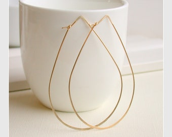 Hoop Earrings Large Hoop Earrings Modern Earrings Wire Earrings Hammered Large Mod Hoops Teardrop Hoops Large Gold Hoops Large Silver Hoops
