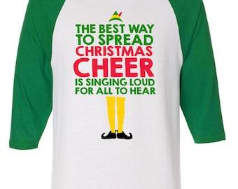 Christmas Cheer Buddy The Elf Raglan 3/4 Sleeve Shirt American Apparel  Funny Gift Xmas