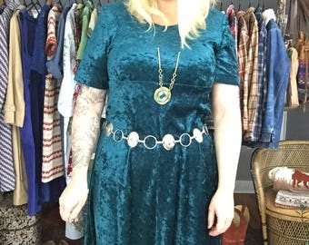 Crushed Velvet Teal Maxi Dress - '90s Grunge Vintage Clothing or Boho Festival Fashion Size Medium