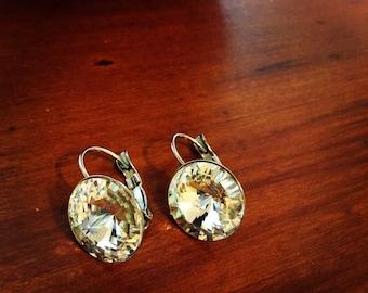 Swarovski Elements 14mm clear crystal rivoli earrings on stainless steel french clasps