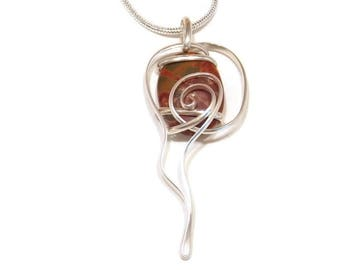 Sterling Silver Necklace Wire Wrapped Stone Pendant Silver Jewelry