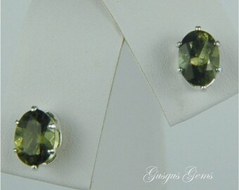 Moldavite Faceted Stud Earrings Sterling Silver 7x5mm Oval 1.25ctw Rare Natural Untreated