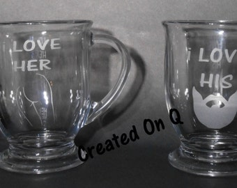 Love his beard love her butt etched glass coffee mug set
