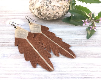 Leather Feathers. Brown Leather Earrings. Gold leather Earrings. Recycled leather earrings. Upcycled. Bohemian earrings. Boho chic leather.