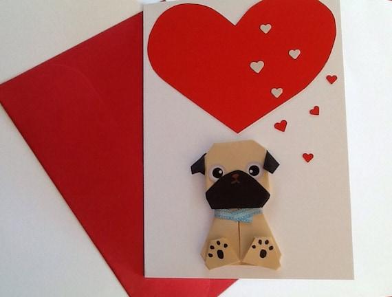 Pug birthday card valentine card origami be mine handmade bookmarktalkfo Image collections