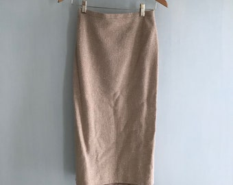 Vintage skirt 1940/50', WW2 Small mid calf length New likeTextured tweed cotton/ wool.Beige/white.Impeccable