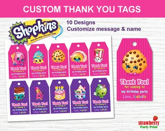 Shopkins Favor Tags, Shopkins Thank You Tags, Shopkins Party Favors, Shopkins  Printables, Shopkins Gift Tags, Shopkins Birthday Decorations