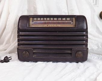Antique 1940's Mantola Radio- Magna-Beam Tube Radio with Bilt-in Antenna- Bakelite/ plastic case- Vintage Electronics- Electric-BF Goodrich