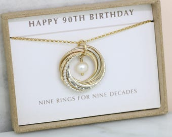 90th birthday gift, June birthstone necklace 90th, pearl necklace for 90th birthday, gift for grandmother, mom - Lilia