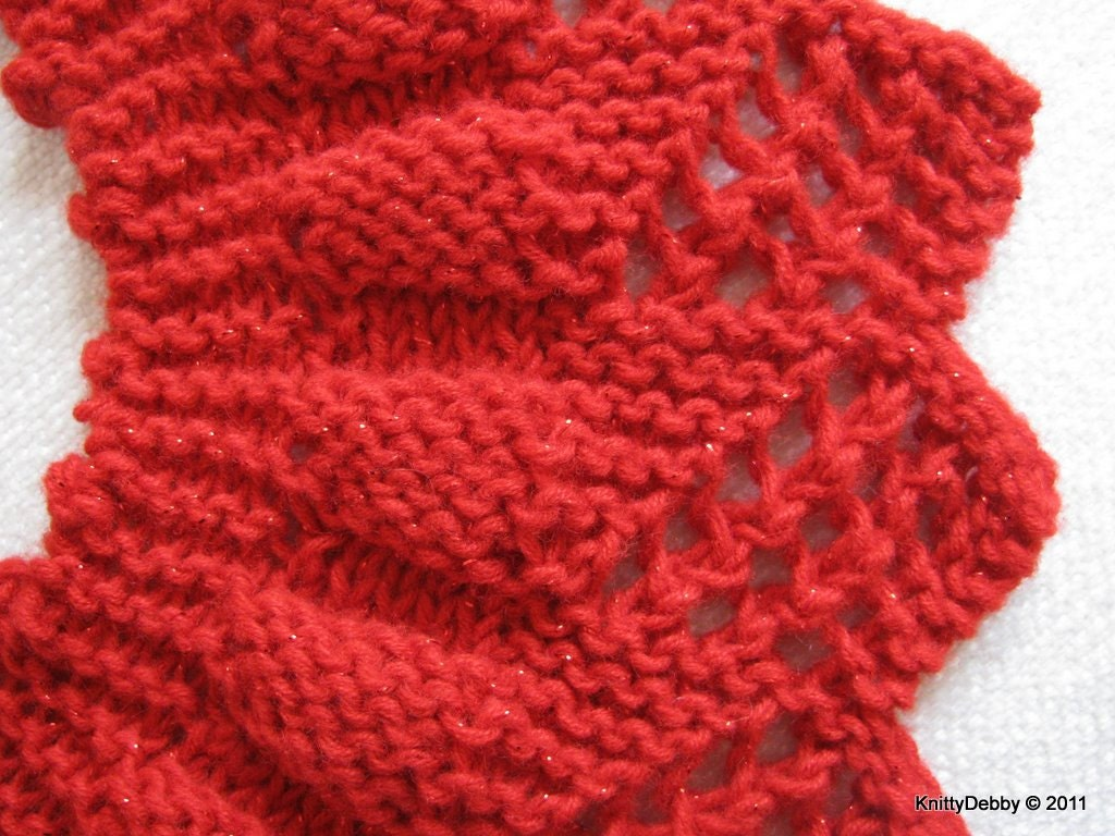 Lace Collar or Scarf knitting pattern Candy Apple Red design PDF ...