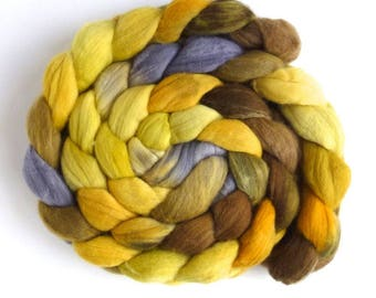 Soft Sunshine, Rambouillet Wool Roving - Hand Painted Spinning Fiber