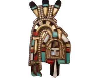 Vintage ZUNI Mosaic Inlay RAINBOW Man Pendant/Brooch