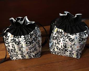 GEEK PRIDE -- Medium fully-lined cotton drawstring knitting project bag or dice bag -- subtle rainbows