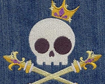 Royalty Skully Embroidered Flour Sack Hand/Dish Towel