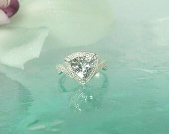 Quartz Engagement Ring, White Gemstone Engagement Ring, Triangle Ring, Quartz Ring, Quartz Sterling Ring, Trillion Cut Ring, Gemstone Ring