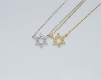 Dainty Jewish Star Necklace, Micro Pave Magen David Necklace, Gold Star of David Necklace, Sterling Silver Star of David, Silver Jewelry