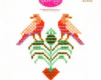 Modern Cross Stitch Pattern | Anna Maria Horner Needlework - Bashful Birds Pattern